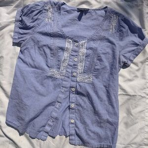 American Eagle Pinstripe & Lace Blouse